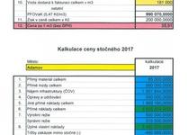 Kalkulace ceny vodného a stočného pro rok 2017